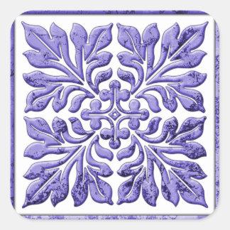 Ancient english tile cool purple square sticker