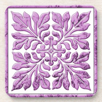 Ancient english tile warm tender purple coasters