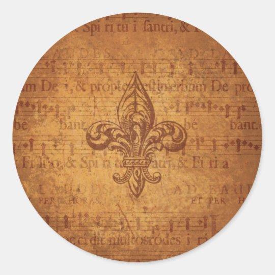 Ancient Fleur De Lis Classic Round Sticker