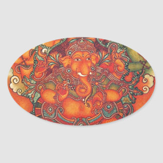 ANCIENT GANESH PAINTING OVAL STICKER