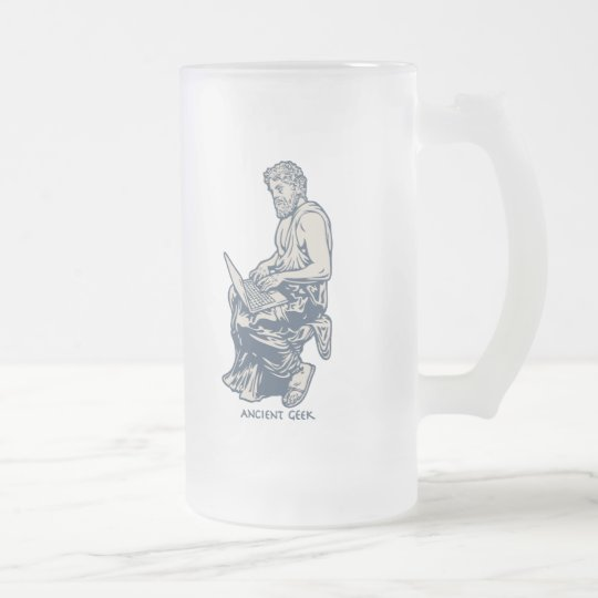 Ancient Geek Frosted Glass Beer Mug