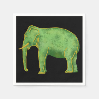 Ancient Gold and Jade Elephant Paper Napkin