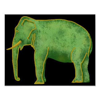 Ancient Gold and Jade Elephant Poster
