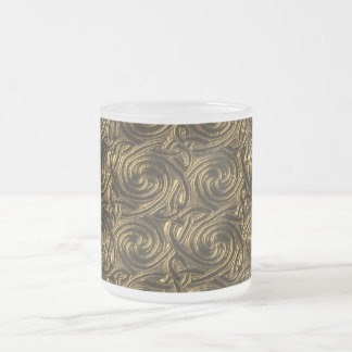 Ancient Golden Celtic Spiral Knots Pattern 10 Oz Frosted Glass Coffee Mug