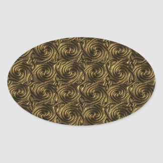 Ancient Golden Celtic Spiral Knots Pattern Oval Sticker