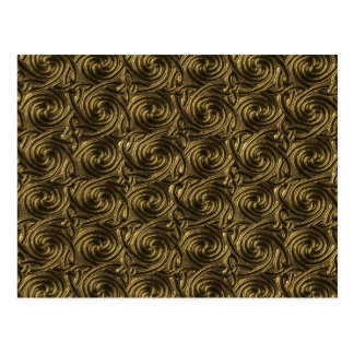 Ancient Golden Celtic Spiral Knots Pattern Postcard