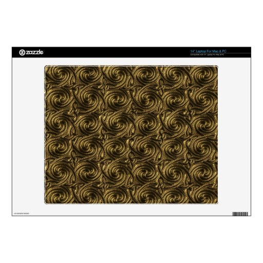 Ancient Golden Celtic Spiral Knots Pattern Decal For Laptop