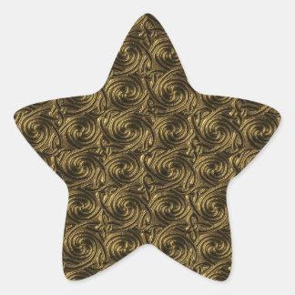 Ancient Golden Celtic Spiral Knots Pattern Star Sticker