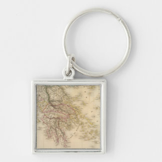Ancient Greece 3 Silver-Colored Square Keychain