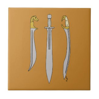 Ancient Greek Blades Ceramic Tile