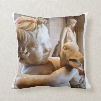 Ancient Greek Boy Goose Sculpture Art Throw Pillow