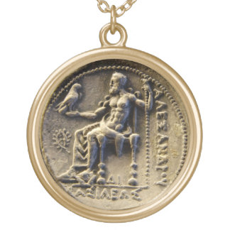 ANCIENT GREEK COIN /ZEUS HOLDING AN EAGLE Printed Gold Plated Necklace