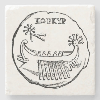 Ancient Greek galley marble stone coaster