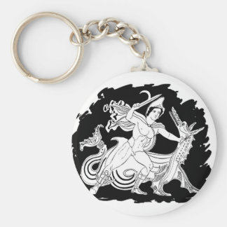 Ancient Greek Hero and the Dragon Key Chains