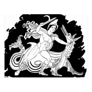 Ancient Greek Hero and the Dragon Postcard