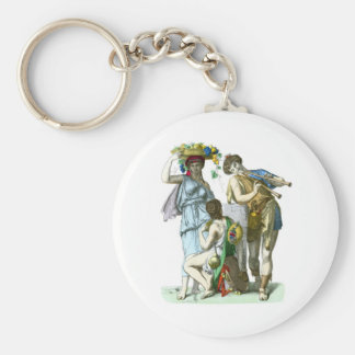 Ancient Greek Musicians and Country Folk Keychain