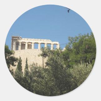 Ancient Greek Parthenon from afar Classic Round Sticker