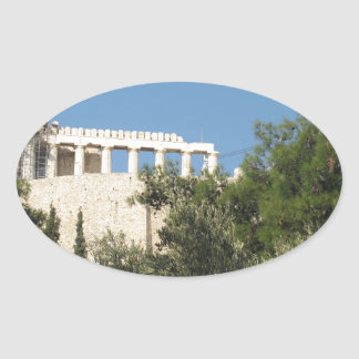 Ancient Greek Parthenon from afar Oval Sticker