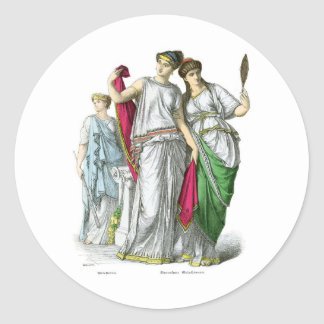 Ancient Greek Priestess and Noble Women Round Sticker