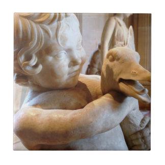 Ancient Greek Sculpture Boy and Goose Ceramic Tile