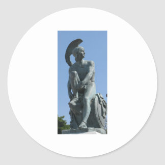 Ancient Greek Soldier in Classical Greece Classic Round Sticker