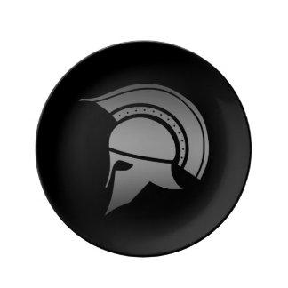 Ancient Greek Spartan Helmet Porcelain Plate