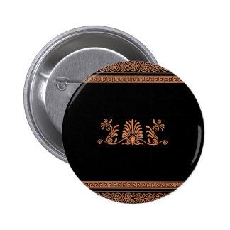 Ancient Greek Style Black and Orange Floral Design 2 Inch Round Button