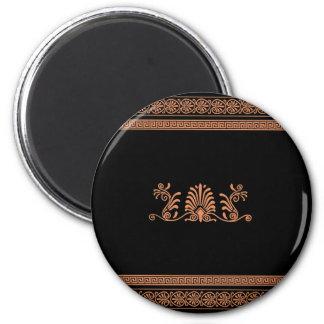 Ancient Greek Style Black and Orange Floral Design 2 Inch Round Magnet