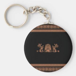 Ancient Greek Style Black and Orange Floral Design Basic Round Button Keychain