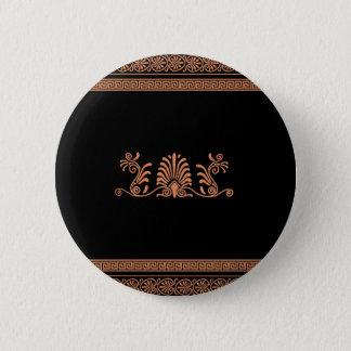Ancient Greek Style Black and Orange Floral Design Button