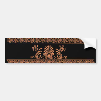 Ancient Greek Style Black and Orange Floral Design Car Bumper Sticker