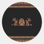 Ancient Greek Style Black and Orange Floral Design Classic Round Sticker
