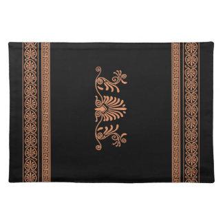 Ancient Greek Style Black and Orange Floral Design Cloth Placemat
