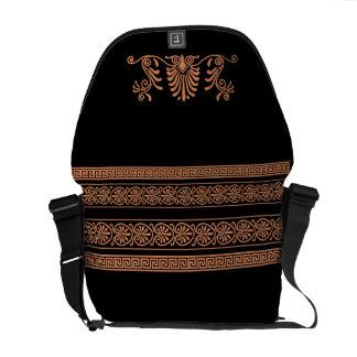 Ancient Greek Style Black and Orange Floral Design Courier Bag