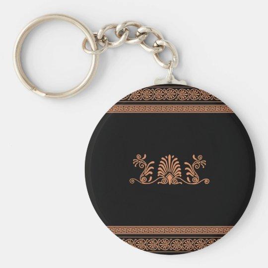 Ancient Greek Style Black and Orange Floral Design Keychain
