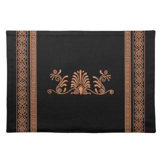 Ancient Greek Style Black and Orange Floral Design Placemat