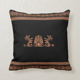 Ancient Greek Style Black and Orange Floral Design Throw Pillow