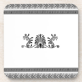 Ancient Greek Style Black and White Floral Design Coaster