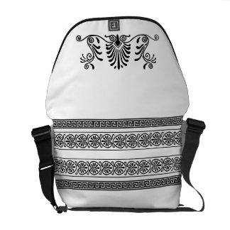 Ancient Greek Style Black and White Floral Design Messenger Bag