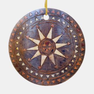 ancient greek symbol wood ethnic sun motif carved ceramic ornament
