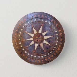 ancient greek symbol wood ethnic sun motif carved pinback button