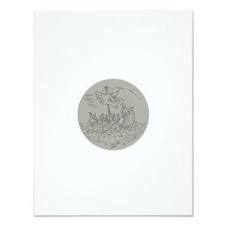 Ancient Greek Trireme Warship Circle Drawing Card