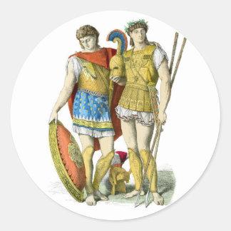 Ancient Greek Warriors Classic Round Sticker