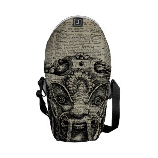 Ancient Grotesque Mask Over Old Dictionary Page Courier Bag