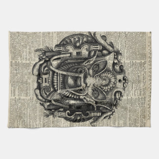 Ancient Grotesque Mask Over Old Dictionary Page Kitchen Towels