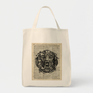 Ancient Grotesque Mask Over Old Dictionary Page Tote Bag