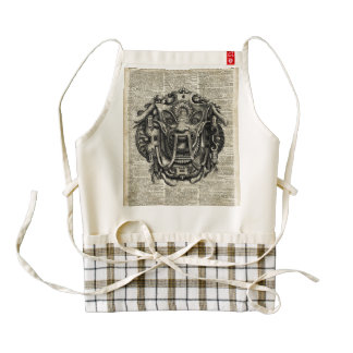 Ancient Grotesque Mask Over Old Dictionary Page Zazzle HEART Apron