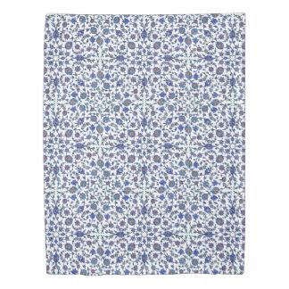 Ancient Handmade Blue Turkish Floral Tiles Patter Duvet Cover