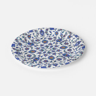 Ancient Handmade Blue Turkish Floral Tiles Pattern Paper Plate