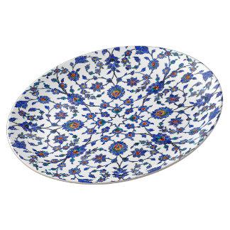 Ancient Handmade Blue Turkish Floral Tiles Pattern Plate